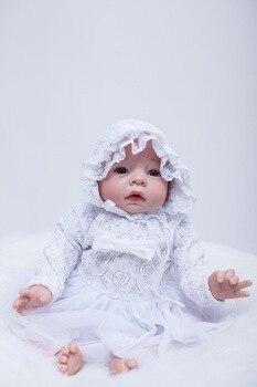 "white dress  22"" New arrival Handmade Silicone Vinyl Lifelike Toddler Baby Bonecas Girl Kid Reborn big size Silicone Juguetes"