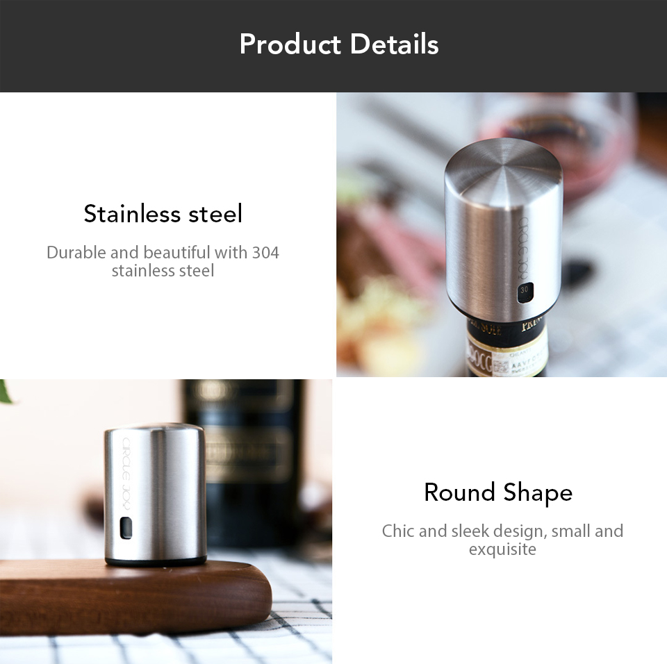 Xiaomi Youpin Circle Joy Wine Bottle Stopper with Vacuum Memory Function Food-grade Stainless Steel (8)