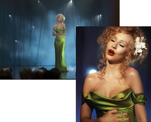 fd155fb370d Christina Aguilera Green Dress Burlesque Celebrity Prom Gowns in Movies  party evening elegant vestido de festa gowns