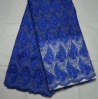 Latest African Guipure Lace High Quality Cord Lace With Organze For Nigerian Wedding Dress Royal Blue