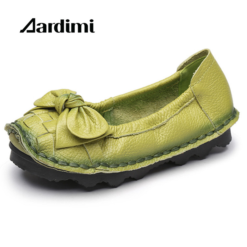 New Arrival 2018 Spring Butterfly-knot Handmade Genuine Leather Shoes Women Loafers Soft Bottom Flat Shoes Women Ballet Flats new national wind flowers handmade genuine leather shoes women retro soft bottom flat shoes summer canvas ballet flats k62