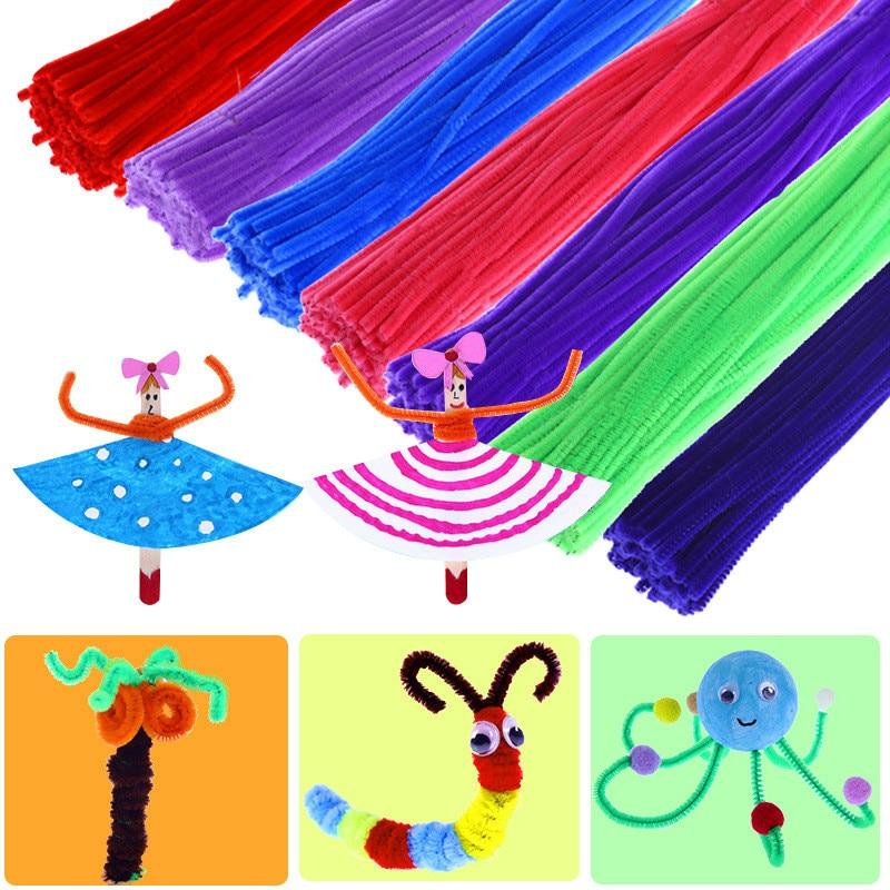 100pcs Montessori Math Educational Toy Chenille Sticks Puzzle Craft Children Kid Pipe Cleaner Stems Craft Creative Toys