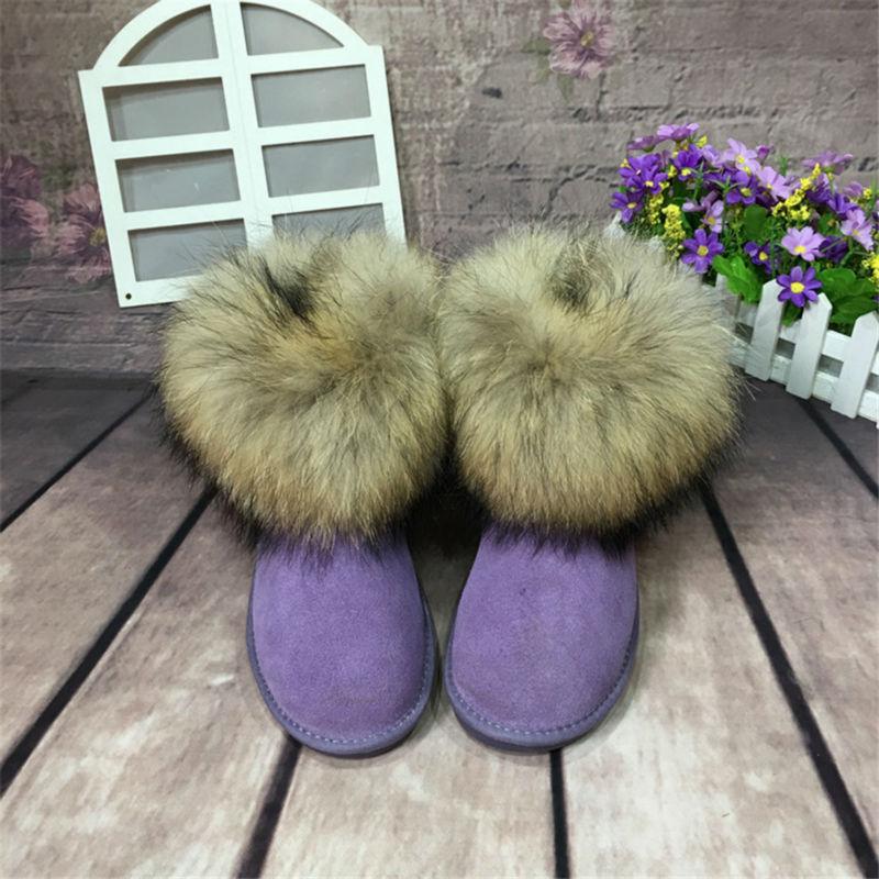 Zapatos 100 Mujeres Genuino Real Grwg same Natural Cuero Las La Mujer Picture De Piel Botas Nieve Picture As Same Invierno Para Zorro 2018 pwTEw0q6