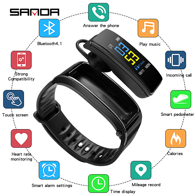 SANDA Earphone Monitor-Clock-Search-Phone Digital Wristwatches Call-Heart-Rate Bluetooth