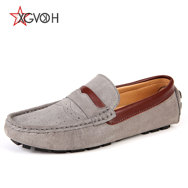 XGVOKH Men shoes Genuine Leather Lazy Moccasins fashion Male Casual Loafers Slip on Shoe Men's Soft Comfort Driving Flats genuine leather men shoes casual loafers slip on mens driving shoes flats moccasins comfortable leisure male hot fashion