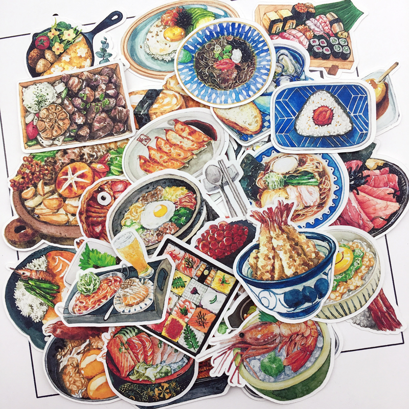 35pcs Water Color Japanese Sushi Sticker Planner Scrapbooking DIY Dry Glue Sticker