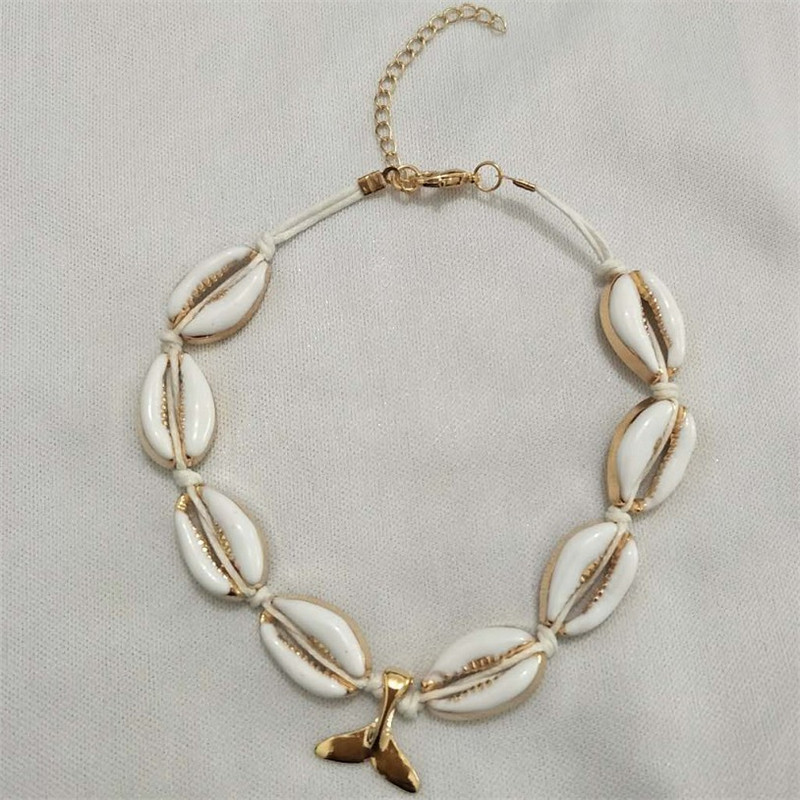 Gold Silver Color Cowrie Shell Anklet Bracelets on The Leg for Women Rope Foot Chain Beads Ankle Chain Bohemia Beach Jewelry