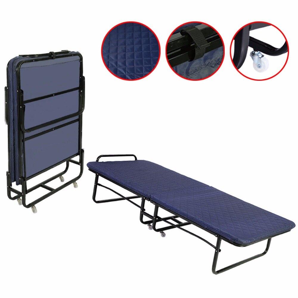 goplus folding bed foam mattress twin roll away guest portable sleeper cot  navy