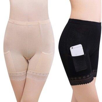 2019 Boxer femme mujeres suave algodón encaje sin costuras Braga pantalón de protección pantalones de verano debajo de la falda pantalones cortos Modal con bolsillos feminino corto