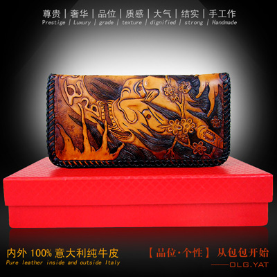 OLG.YAT Italian leather Vegetable tanned handmade wallet men purse men wallets Yasha Hand-carved handbag Retro long Choi cloth olg yat leather handmade wallet men purse womens handbag italian vegetable tanned cowhide wallets the book button long handbags