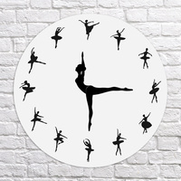 Brief Ballet Dancer Modern Design Wall Clock Charming Ballerina 3D Wall Clock Baby Girl Nursery Decor Unique Gift For Ballerina