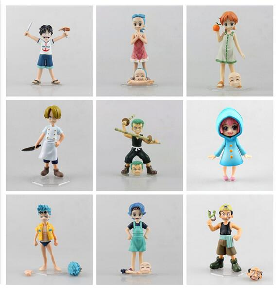 Anime One Piece POP Childhood ver. Zoro Sanji Luffy Nami Robin PVC Action Figures Collectible Model Toys 10 Types anime one piece dramatic showcase 1st season luffy zoro nami usopp sanji chopper pvc action figures collectible toys 6pcs set
