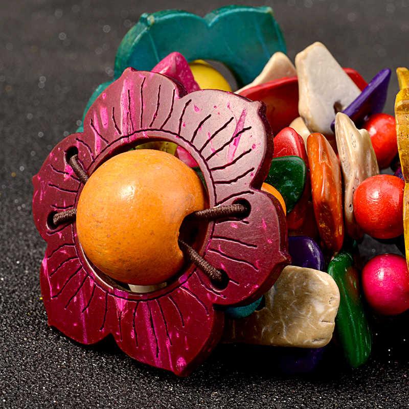 UDDEIN цветок деревянный браслет для женщин богемный многослойный нагрудник бусины ювелирные изделия оптовая продажа одно направление strand браслеты и браслеты