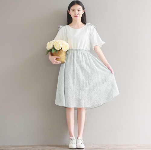 Mori Girl летнее женское милое платье круглый воротник лоскутный плед vestidos De Festa Розовый Синий Зеленый Хлопок Лен платья для девочек