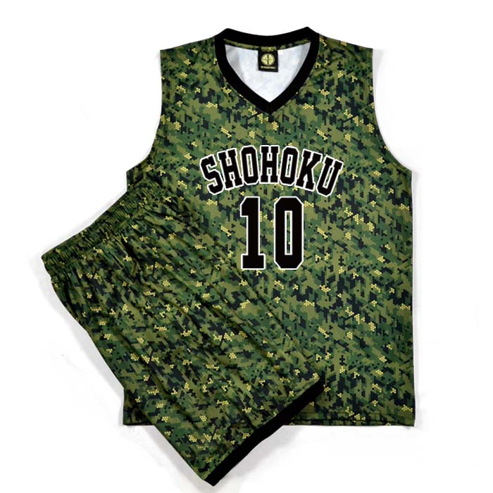 Slam Dunk Jerseys Shohoku #10 Sakuragi Hanamichi Military Camouflage Basketball Jersey Sets (Tops+Shorts) Men Cosplay Costume