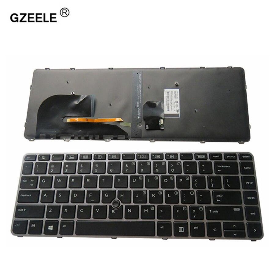 GZEELE New For HP EliteBook 840 G3 836308-001 821177-001 US Backlit laptop keyboard NSK-CY2BV 745 G3 English replace keyboard laptop keyboard for hp for elitebook revolve 810 series black with sliver frame and backlit sp sn8123bl sg 57700 2ea