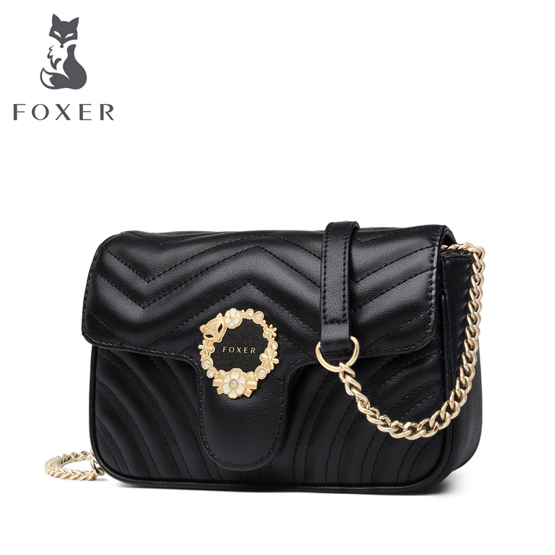 FOXER Brand Lady Striped Flap Women Elegance Crossbody Bags Fashionable Style Shoulder Bag for Female Friend