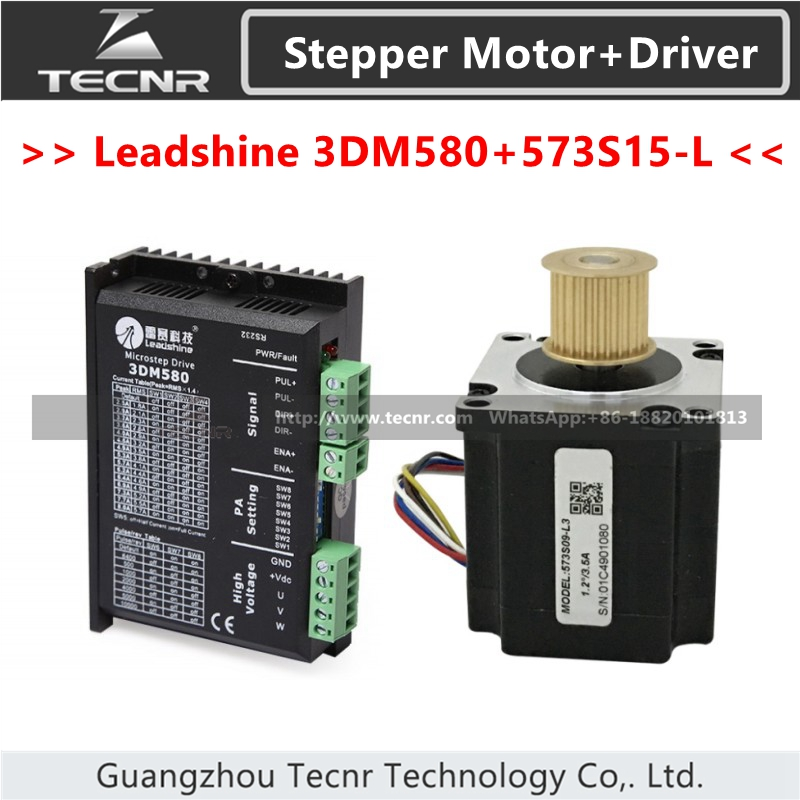 Leadshine 3DM580 Stepper Driver DC18-50V and 3 Phase Stepper Motor 573S15-L 3 phrase leadshine 573s15 step motor