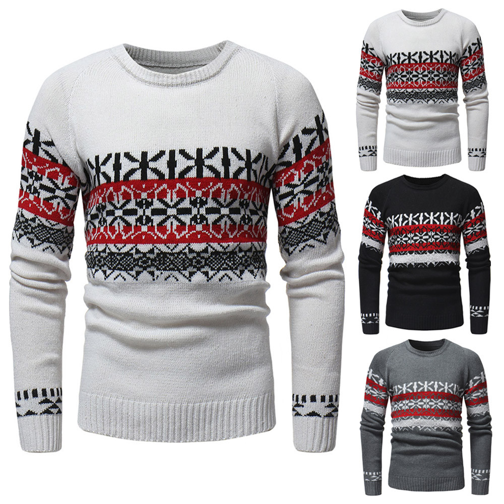 Christmas Sweater For Men's Autumn Winter Pullover Knitted Pullover Coat Print Sweater Jacket Outwear