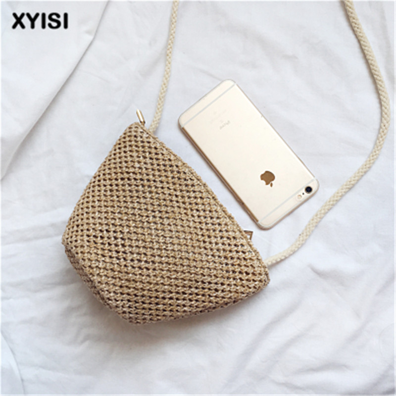 2018 Womens Girl s National Wind Weave Personality Wild Messenger Bag Shoulder Literary Mini Straw bag shell Casual Bag Female