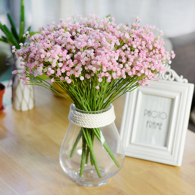 Elegant Baby S Breath Gypsophila Plastic Artificial Flowers For Wedding Party Home Office Decoration Fake Flower Bridal