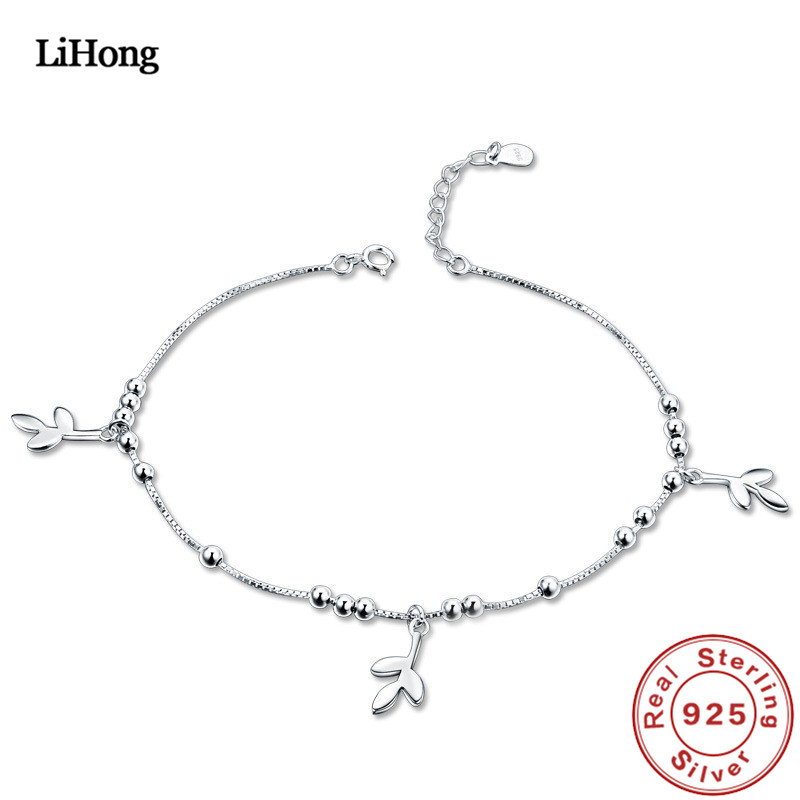 Solid Silver 925 Silver Anklet Woman 100% 925 Sterling Silver Anklet Summer Fashion Jewelry