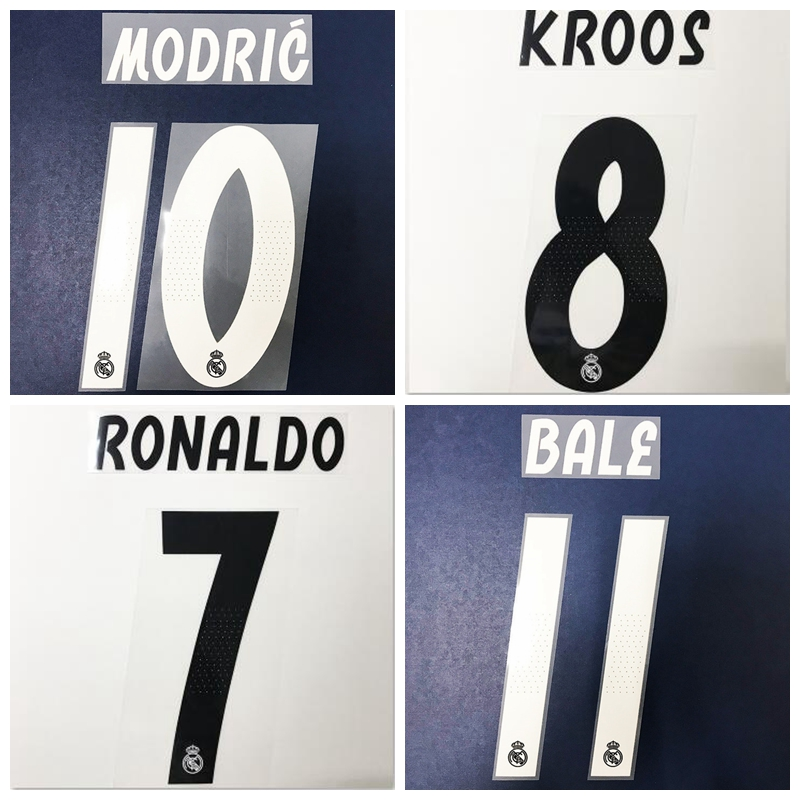 US $4 3 |2019 Real Madrid Modric Kroos Hazard Bale Home Away Third Jersey  football number font print, Hot stamping Soccer patches badges-in Soccers