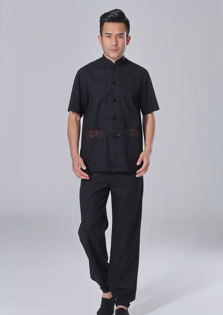 Free shipping martial arts chinese kung fu set for men Tai chi suit short sleeve shirt + pants Linen kungfu uniform