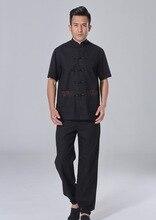 Шанхай История весной китайский кунг-фу набор для мужчин Тай-чи костюм короткий рукав рубашки + брюки Льняные Случайных кунг-фу равномерное