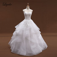 Liyukeปริ๊นเซบอลชุดชุดแต่งงานOrganzaและTulleไอวอรี่สีลูกไม้ขึ้นเจ้าสาวชุดVestido de casamento
