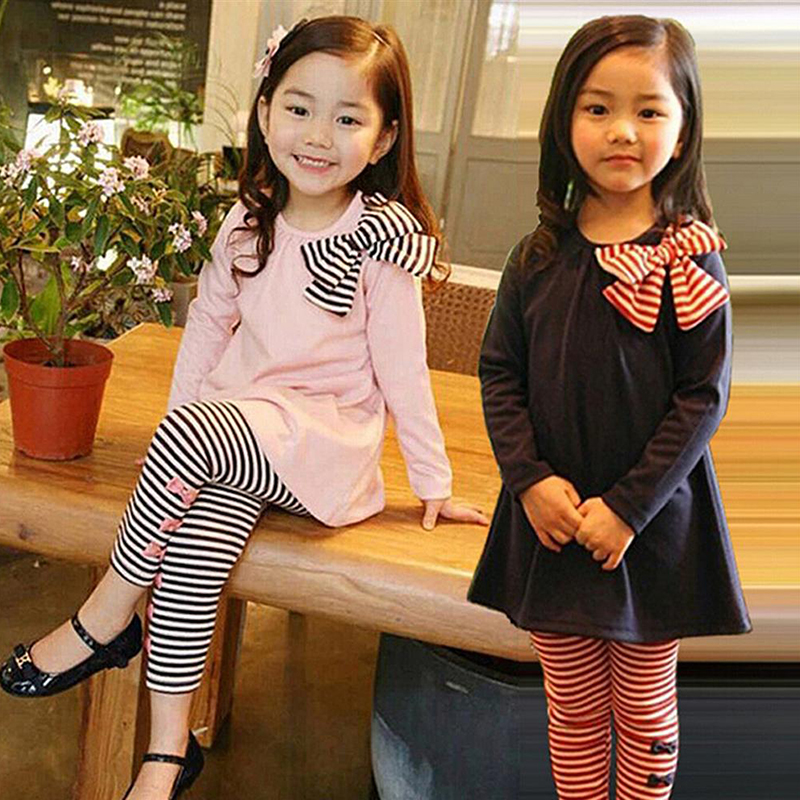 Girls-Clothes-Cotton-Casual-Children-Clothing-Set-2018-New-Long-Sleeve-Shirts-Striped-Leggings-Baby-Kids