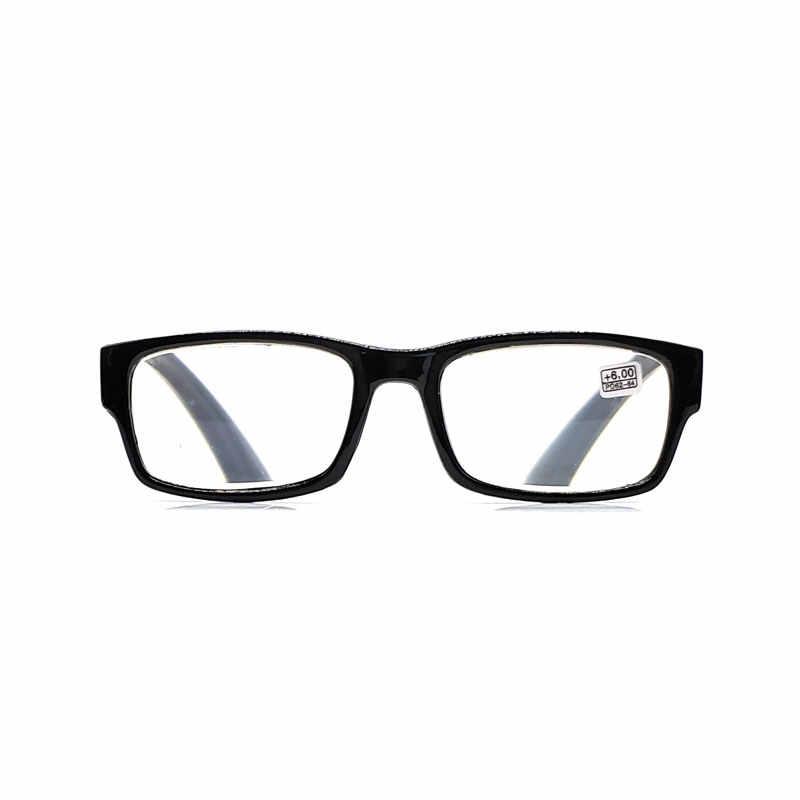 Okuma gözlüğü Erkekler Kadınlar için + 4.50 + 5.00 + 5.50 + 6.00 Siyah Plastik Çerçeve kadın Derece Yüksek