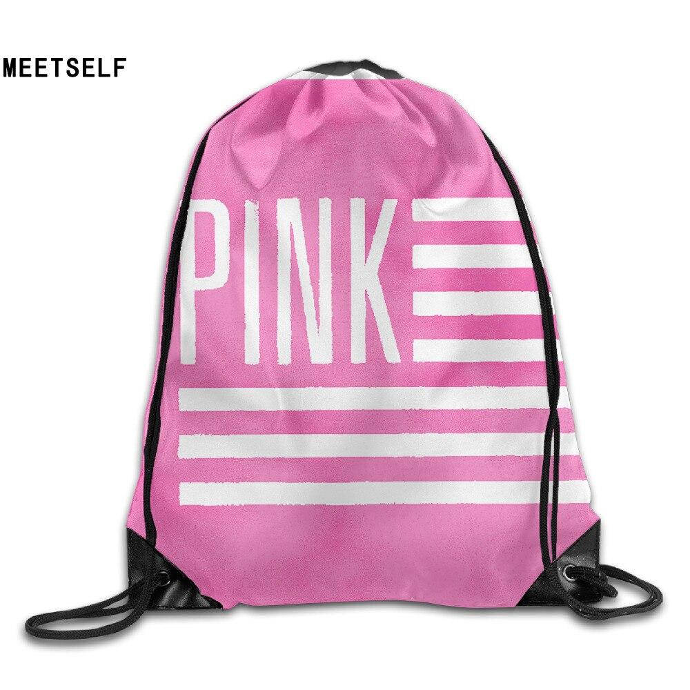 SAMCUSTOM 3D Print Pink Flag Shoulders Bag Women Fabric Backpack Girls Beam Port Drawstring Travel Shoes Dust Storage Bags