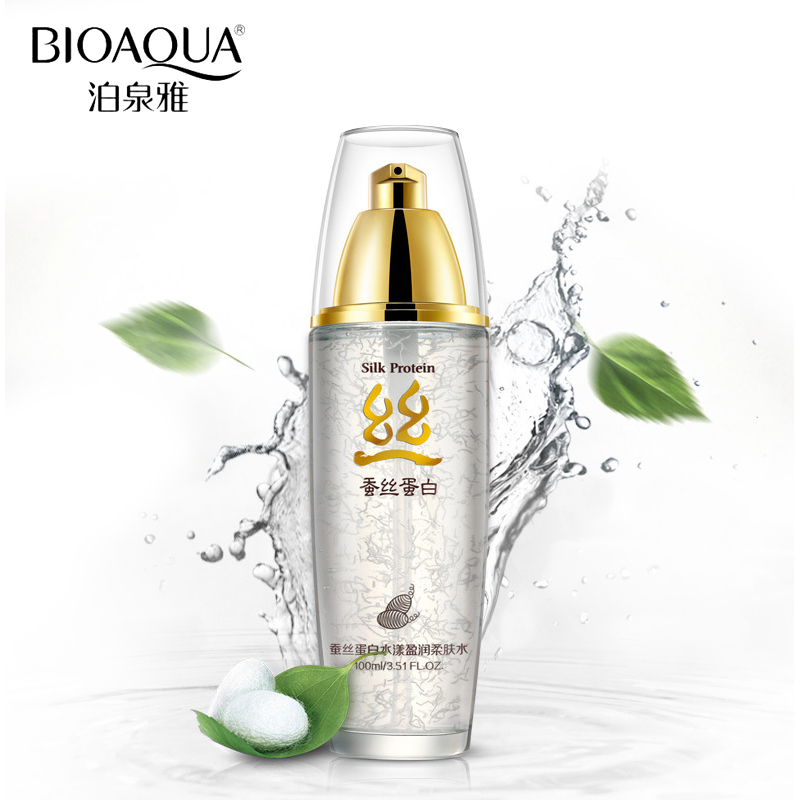 BIOAQUA Brand Skin Care Silk Protein Hyaluronic Acid Liquid Anti Wrinkle Serum Whitening Moisturizing Anti Aging Toner 100g цена 2017