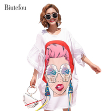 2017 beautiful Cartoon characters print Colorful sequines loose dresses summer women preppy style ribbon patchwork