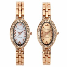 Women Fashion Oval Vintage Rose Gold Crystal Chain Bracelet Steel Band Quartz Wrist Watch