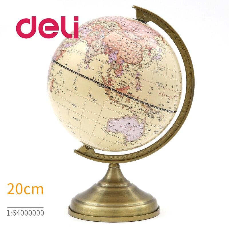 Deli lumière LED stéréoscopique 3d monde terre Globe carte géographie éducatif métal Stand maison idéal Miniatures cadeau gadgets de bureau