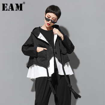 [EAM] 2019 New Autumn Hooded Collar Long Sleeve Spliced Big Size Drawstring Button Loose Jacket Women Coat Fashion Tide JY906 - DISCOUNT ITEM  19% OFF All Category