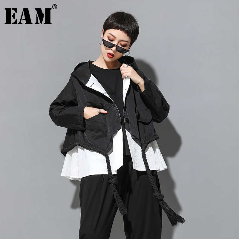 [EAM] 2020 New Autumn Hooded Collar Long Sleeve Spliced Big Size Drawstring Button Loose Jacket Women Coat Fashion Tide JY906