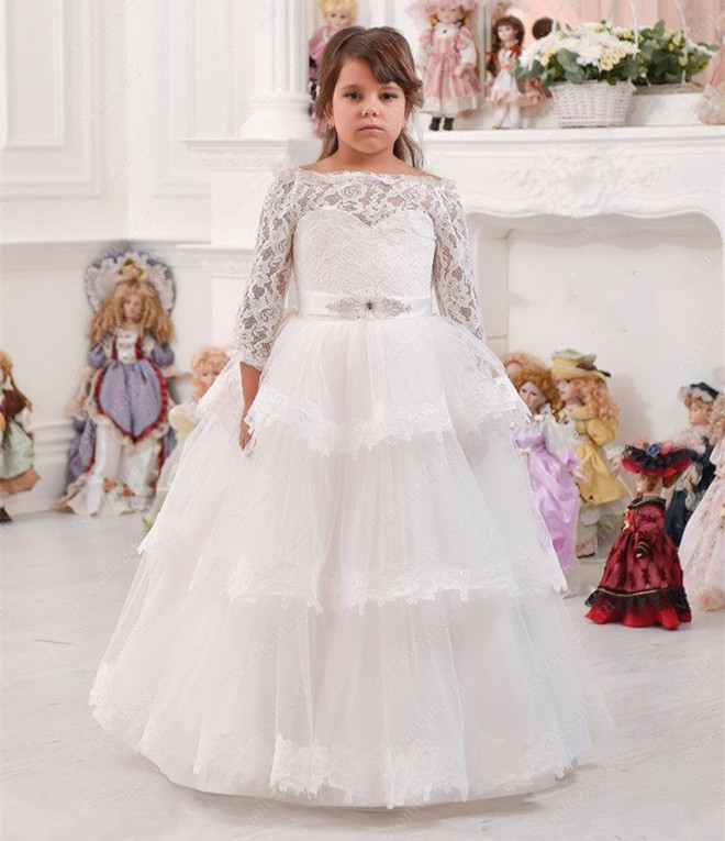 White Tiered Puffy Tulle Lace Flower Girls Dress for Wedding Long Sleeves Sash Girls Holy First Communion Dress Custom Made Long