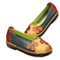 Xgravity Summer Autumn Fashion Flower Design Round Toe Mix Color Flat Shoes Vintage Genuine Leather Women