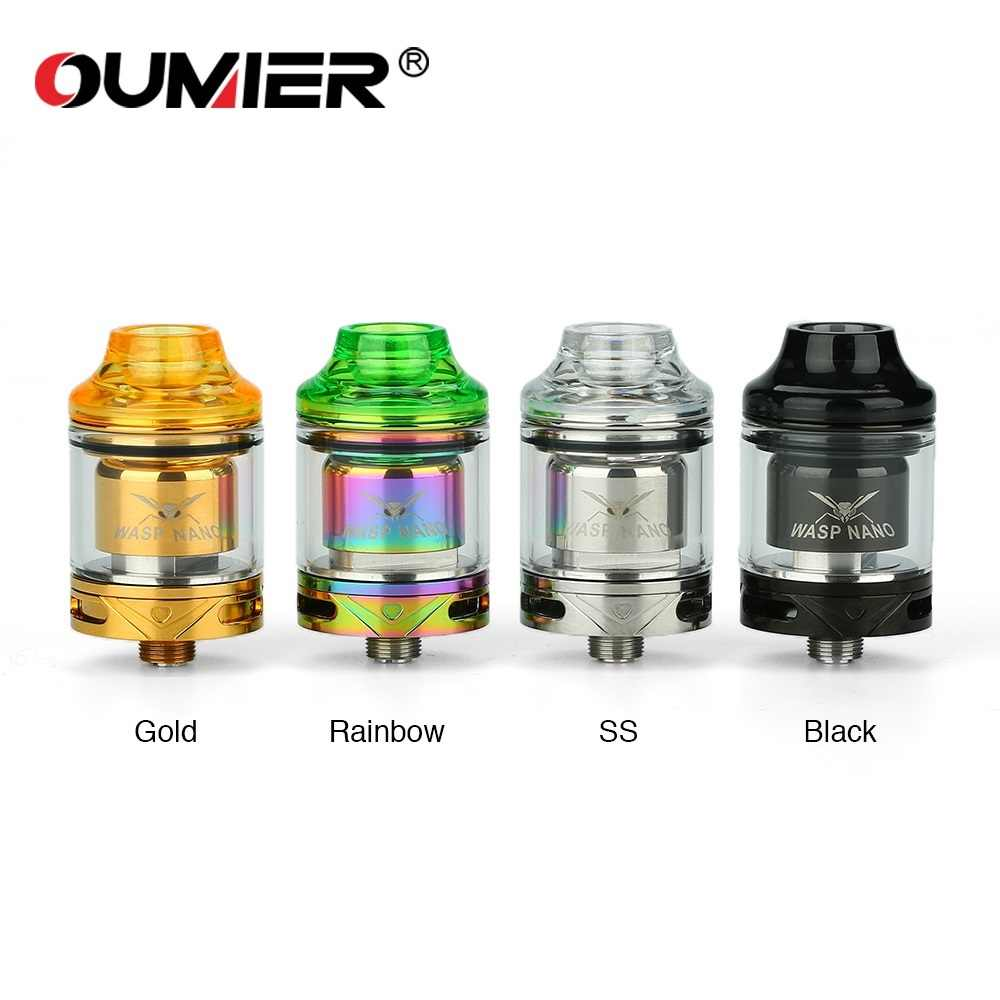 Original OUMIER WASP NANO RTA 2ml Capacity 23mm diameter w/ Top Refill Design & PCTG Drip Tip E-cig Vape Tank VS WASP NANO RDTA