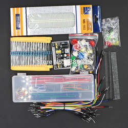 Универсальный Запчасти посылка комплект + 3,3 В/5 В модуль питания + MB-102 830 точек Макет + 65 гибкие кабели + Перемычка окно без дела