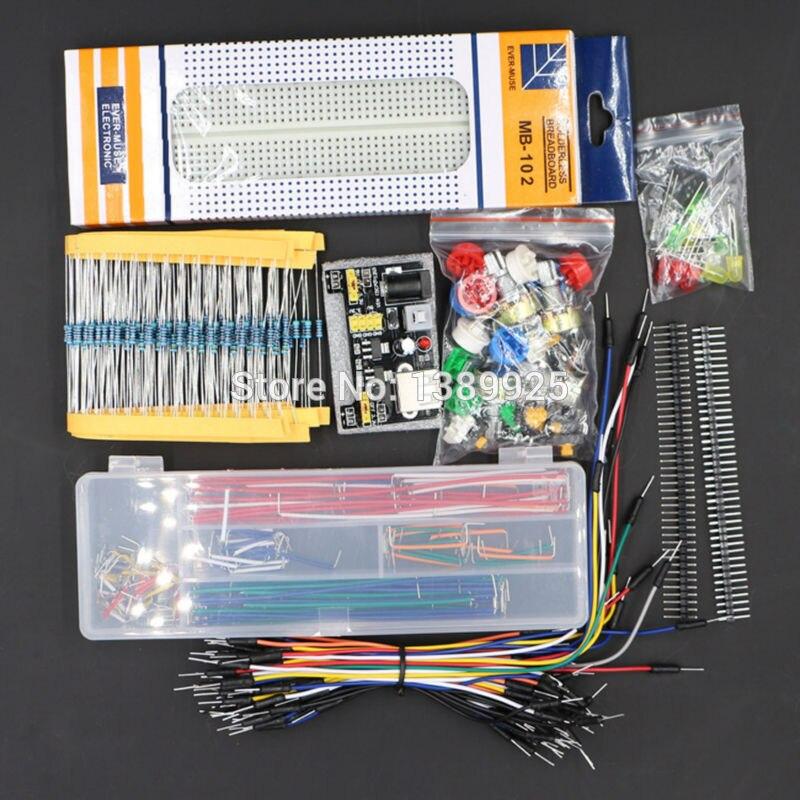 Kit de pièces génériques + module d'alimentation 3.3 V/5 V + MB-102 830 points platine de prototypage + 65 câbles flexibles + boîte de fil de raccordement sans étui