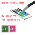 For iPhone 5s glass HD clear screen hardness tempered glass film glass on for iphone 5c 5S mobile phone screen protective glass