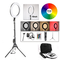 18 48cm Dimmable photography ring light with carry bag 544pcs led beads inside 65w ring lamp for makeup Youtube & light tripod