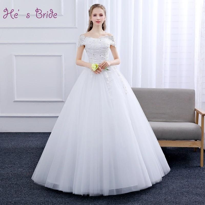 He's Bride White Elegant Luxury Boat Neck Lace Up Back Floor-Length Ball Gown Custom Plus Size Wedding Dress Vestido De Novia