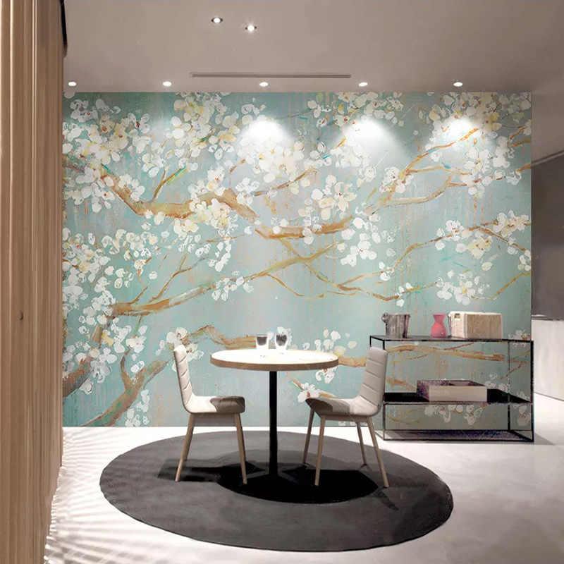 صور خلفيات ثلاثية الأبعاد مرسومة باليد النفط اللوحة أزهار الكرز الزهور الجداريات غرفة المعيشة الفراش غرفة ديكور المنزل Papel دي Parede