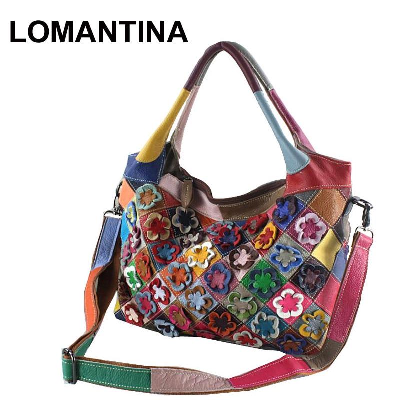 LOMANTINA Flowers Style New Casual Handbags Women Messenger Bag Patchwork Colorful Large Purses