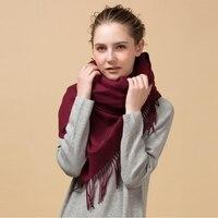 Элитный бренд зима 100% овечьей шерсти большой Одеяло шарф Обёрточная бумага Для женщин пашмины платок и Шарфы для женщин 330 г утолщаются мягк...